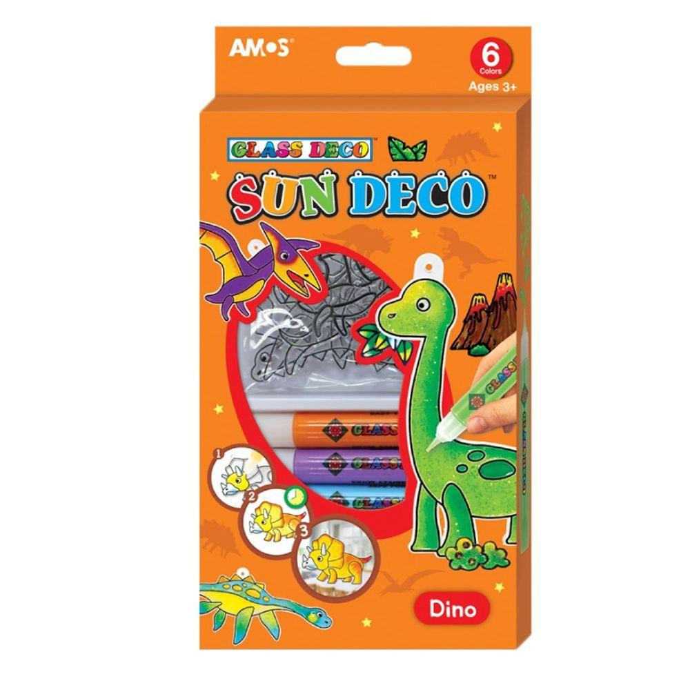 韓國 AMOS - 6色恐龍主題吊飾玻璃彩繪膠
