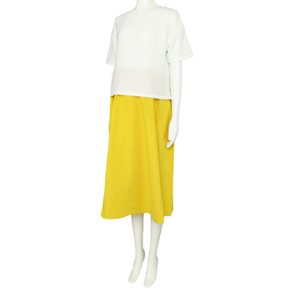 akachan honpo - 短袖假兩件洋裝-黃色