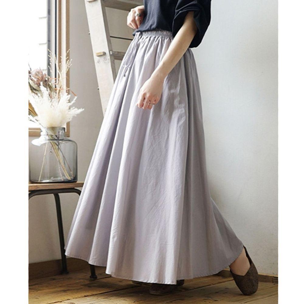 日本 zootie - 100%印度棉舒適傘狀長裙-氣質灰 (Free)