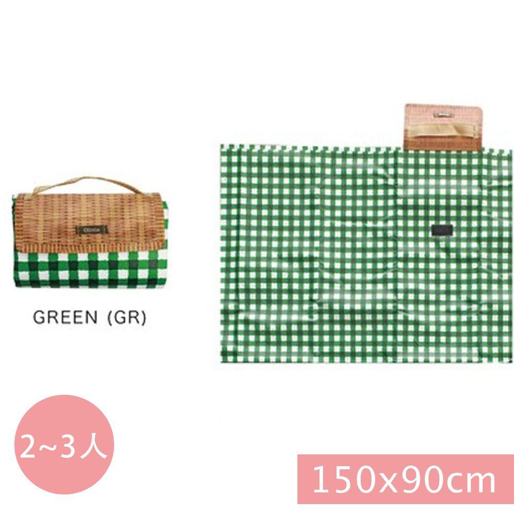 日本現代百貨 - 輕便可收納 防水野餐墊(2-3人)-綠白格子 (150x90cm)