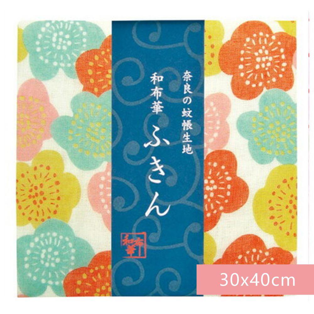 日本代購 - 【和布華】日本製奈良五重紗 方巾-繽紛花梅 (30x40cm)