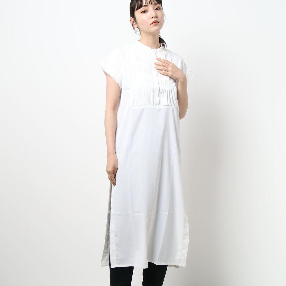 日本 Riche Glamour - 胸口小百褶設計一分袖洋裝-白