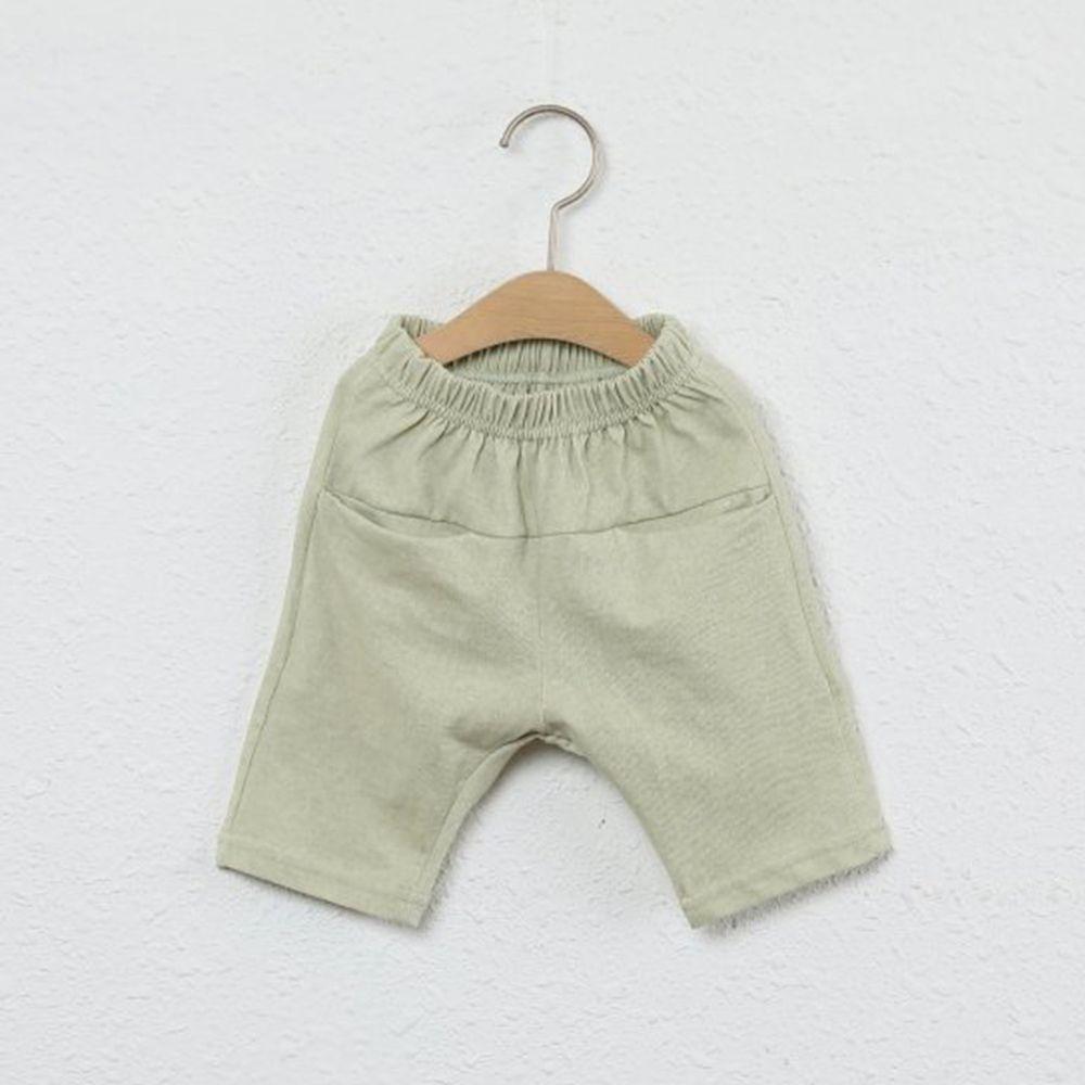 韓國製 - 平口袋純棉7分褲-抹茶綠
