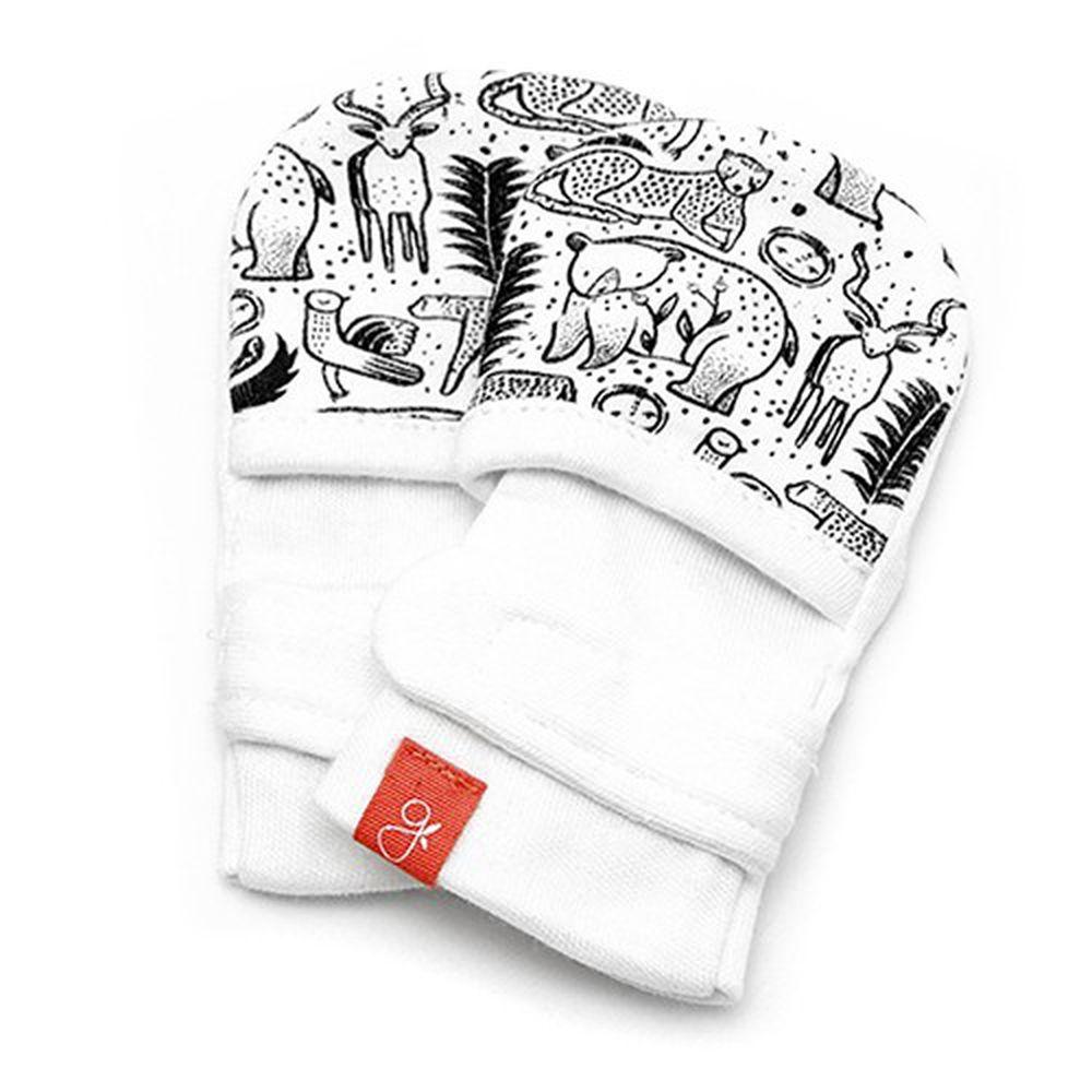 美國 GOUMIKIDS - 有機棉嬰兒手套-*聯名黑白款* 叢林大冒險