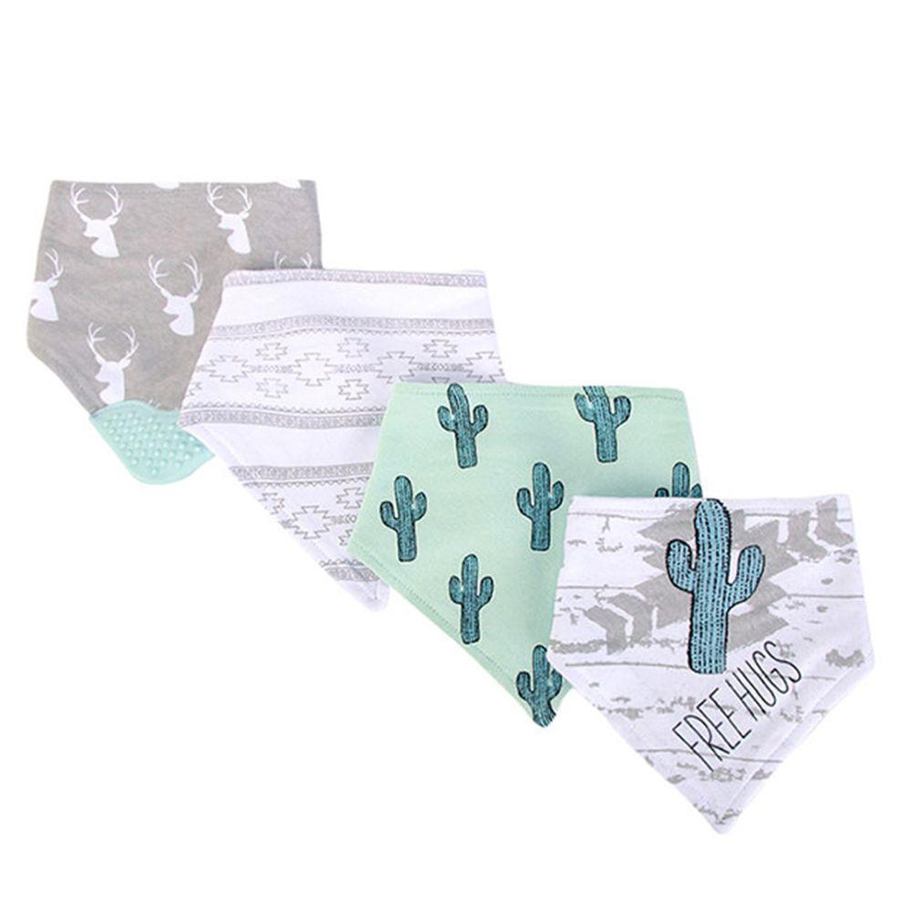 美國 Luvable Friends - 100%純棉超時尚嬰幼兒三角領巾/口水巾圍兜/咬咬兜3入組-綠色仙人掌 (單一尺寸)
