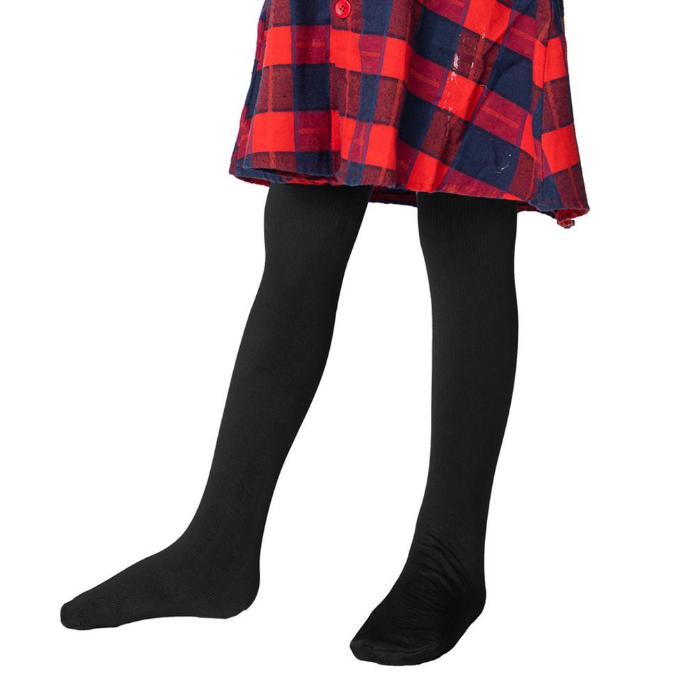 GIAT - 兒童保暖內刷毛褲襪(褲襪款)-黑色