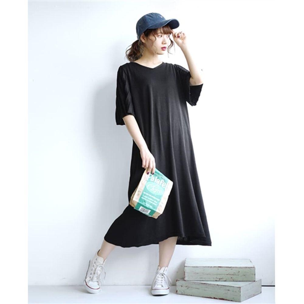 日本 zootie - 涼感防曬速乾 顯瘦羅紋五分袖洋裝-黑 (F)