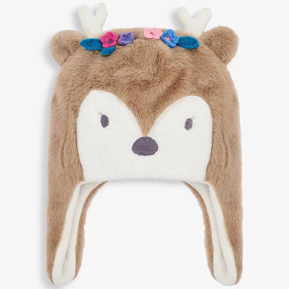 英國 JoJo Maman BeBe - 保暖舒適羊毛帽-花冠小鹿