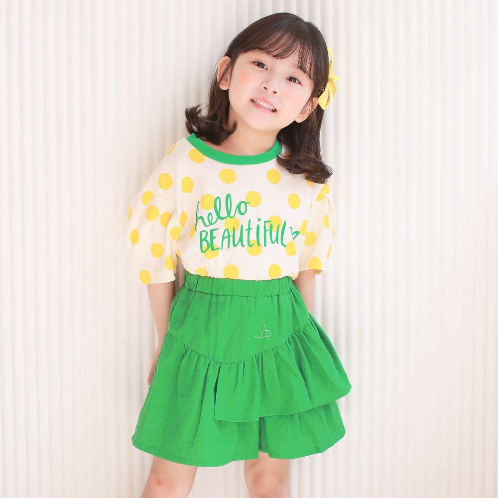 韓國 Dalla - 波點泡泡袖純棉T+不對稱荷葉褲裙套裝-黃波點+綠褲
