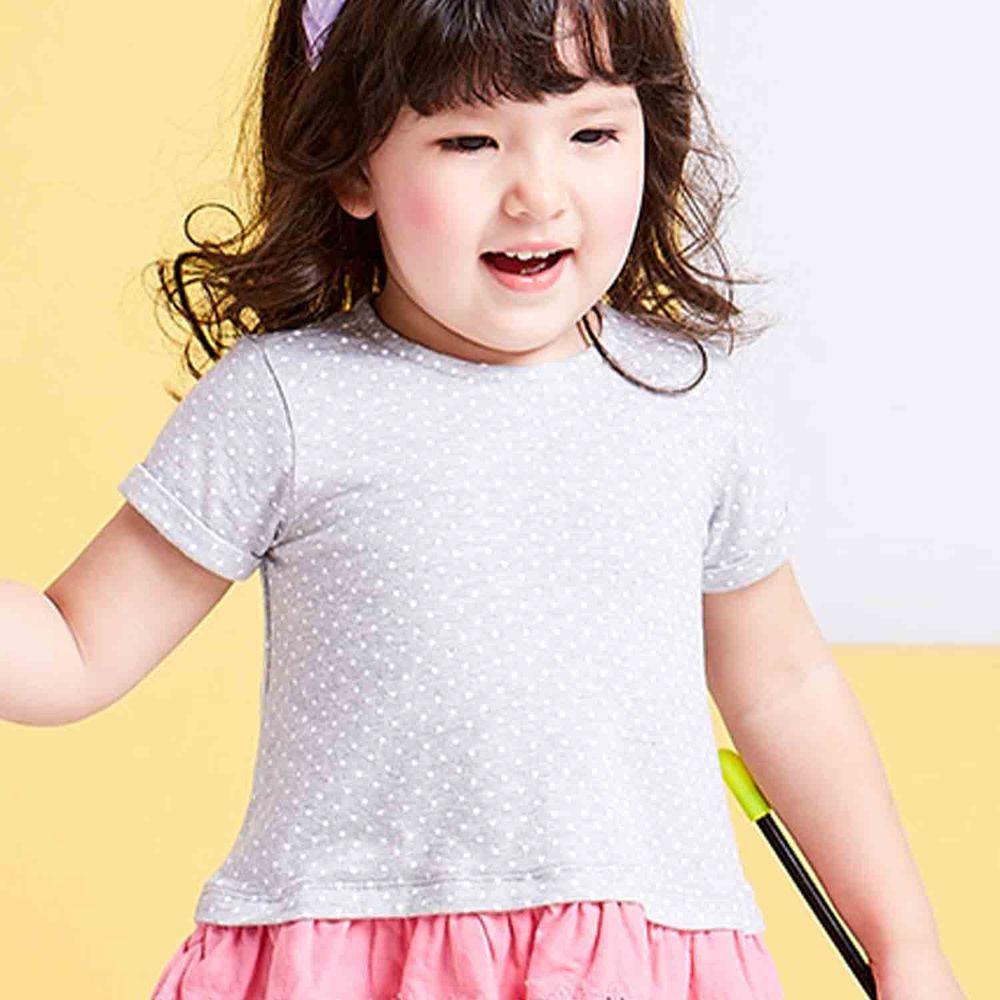 麗嬰房 Little moni - 俏皮女孩蕾絲拼接上衣-麻花灰