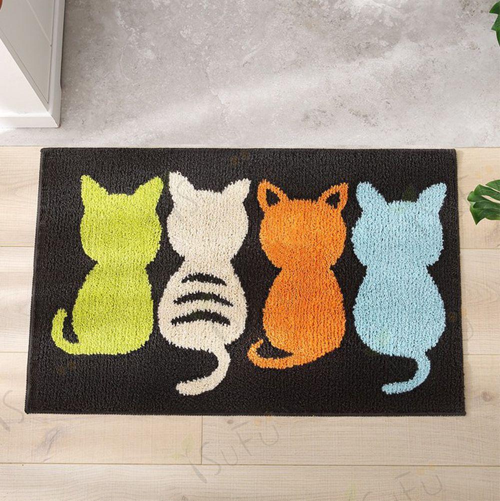 舒福家居 isufu - 四隻小貓 地毯地墊 TPR防滑墊 臥室/床邊/入門口踏墊-排排貓-深咖 (40*60CM)