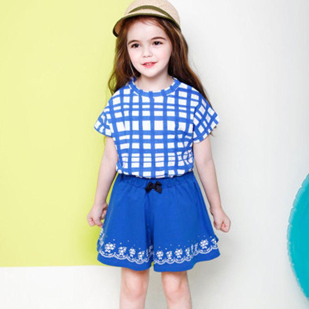 韓國 Jelispoon - 藍格子套裝