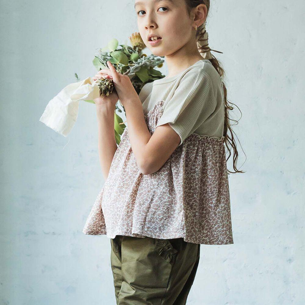 日本 PAIRMANON - 假兩件細肩帶背心短袖上衣-杏粉碎花