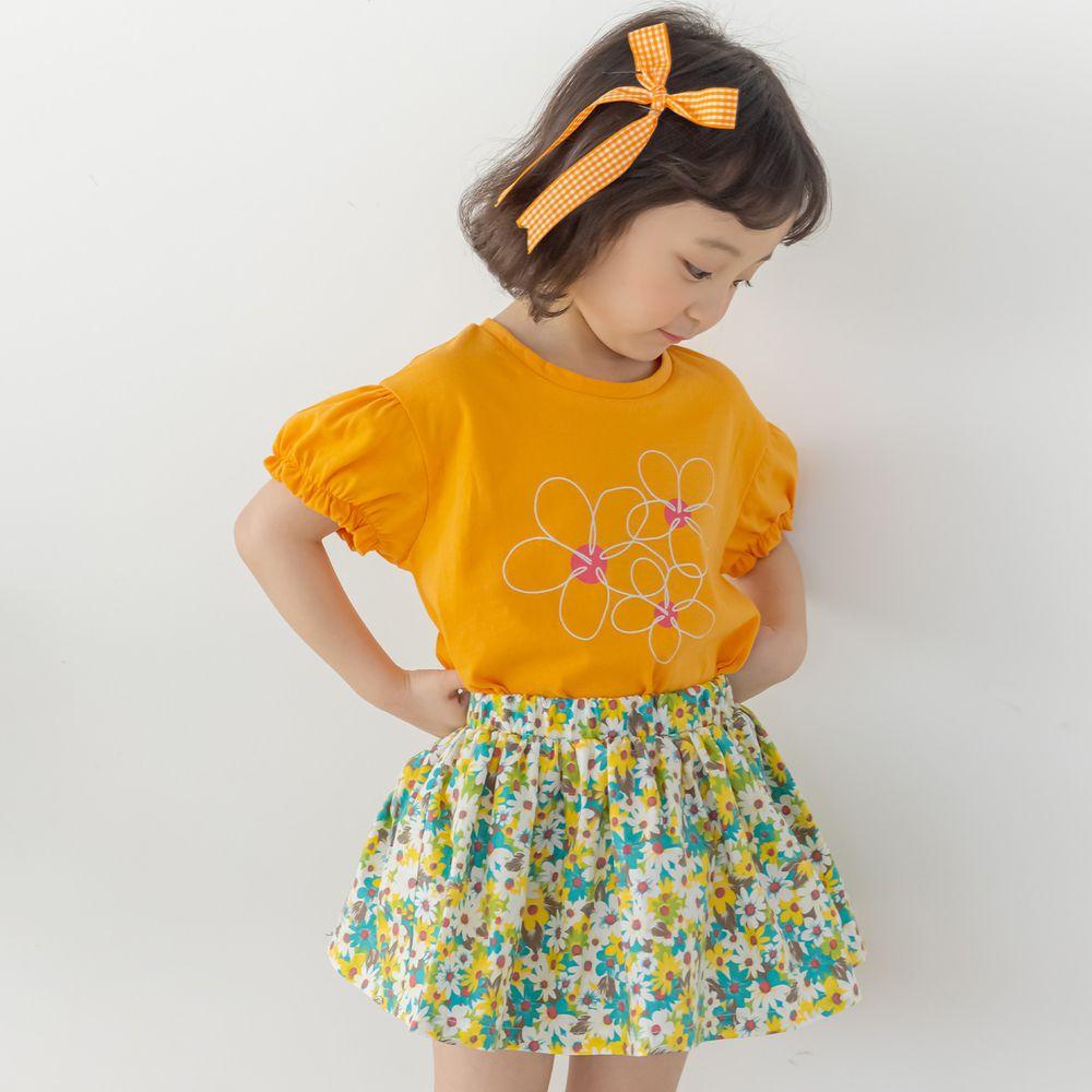 韓國 Orange Mom - 活力花朵套裝-橘上衣X黃裙