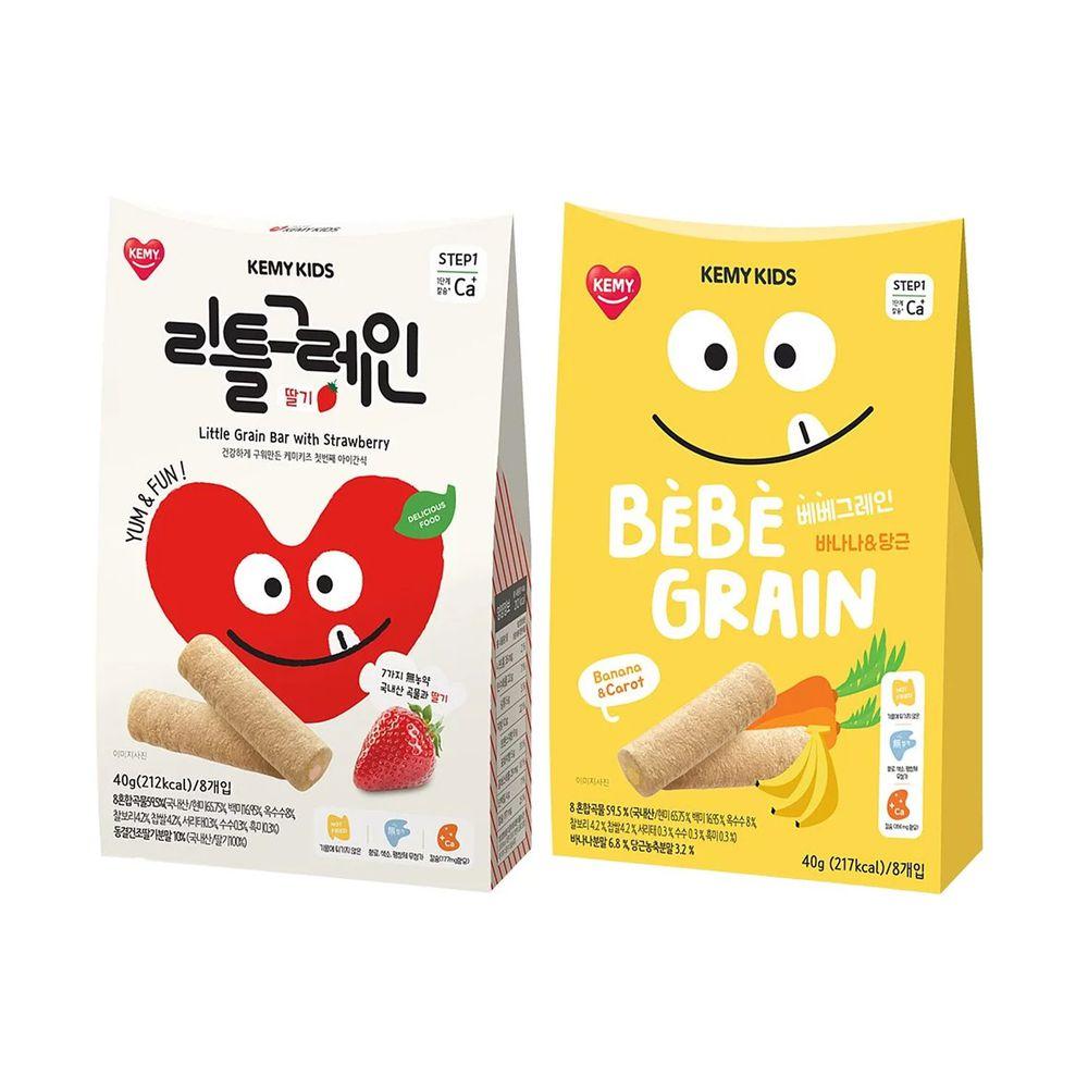 KEMY KIDS - 貪吃凱米 穀物小捲心兩入組-香蕉紅蘿蔔+草莓