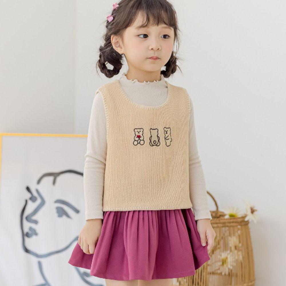 韓國 Orange Mom - (現省$150)三件式背心套裝-米黃背心X白上衣X粉紫裙