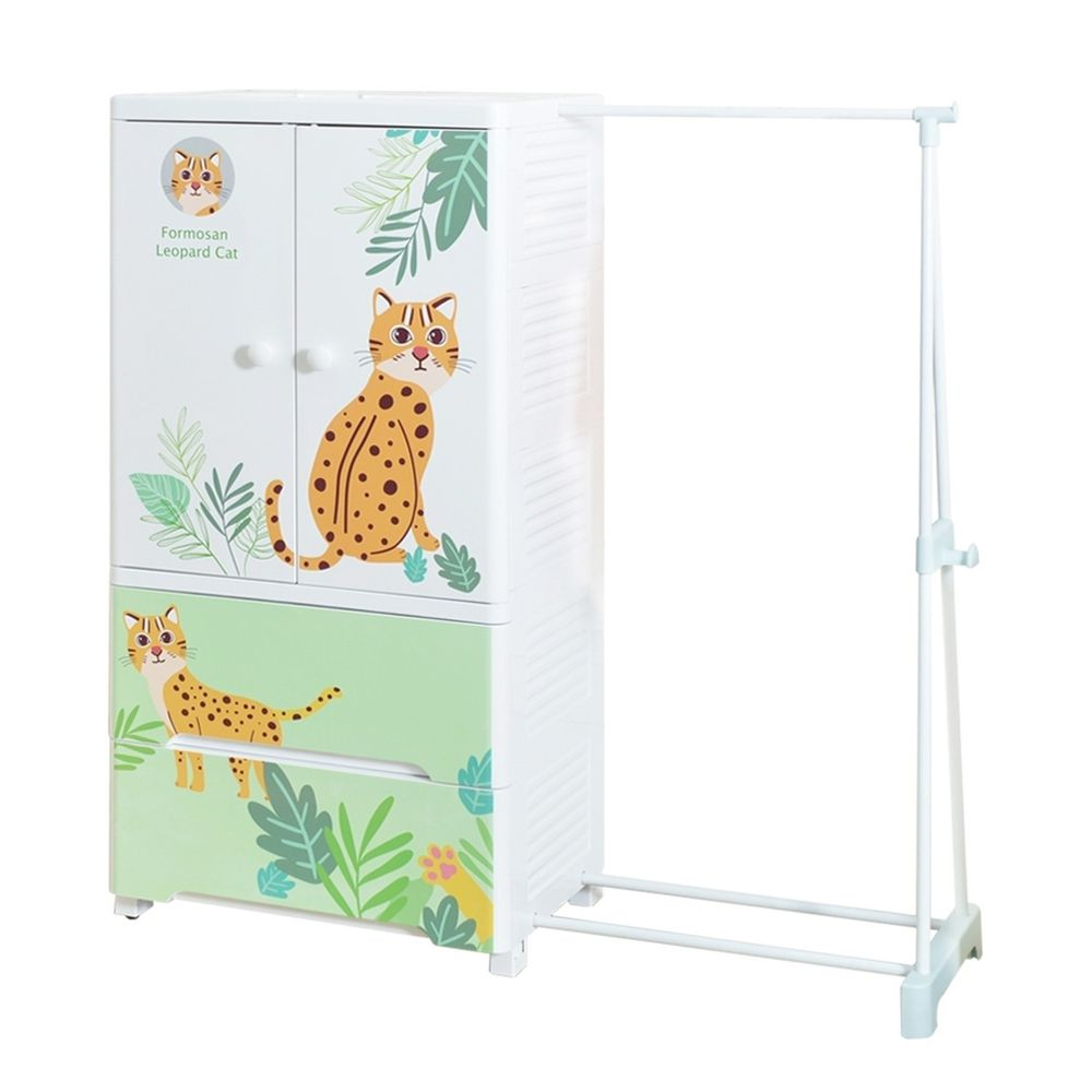 家窩 - 福爾摩沙外伸縮掛衣桿雙開門二抽兒童衣櫃-林間石虎(送兒童衣架&除溼乾燥劑組)
