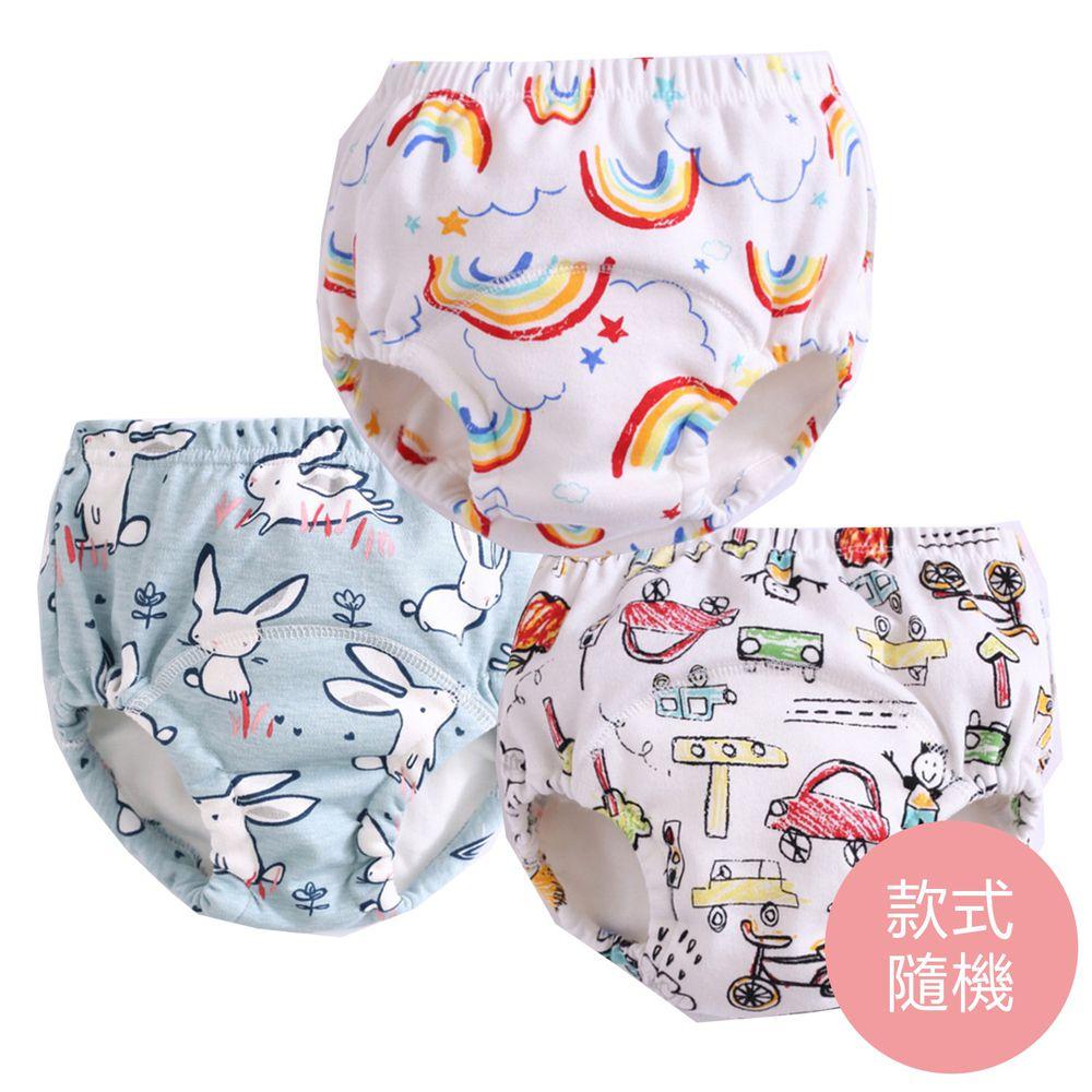 JoyNa - 6層紗嬰兒尿布褲 鬆緊隔尿褲-3件入-彩虹+隨機2入