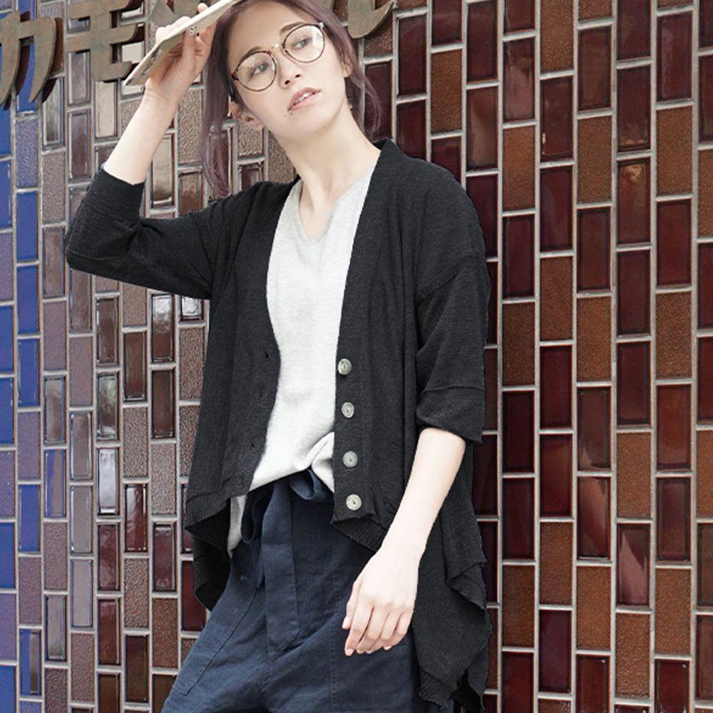 日本 zootie - 涼感防曬速乾 不規則剪裁罩衫/外套-帥氣黑
