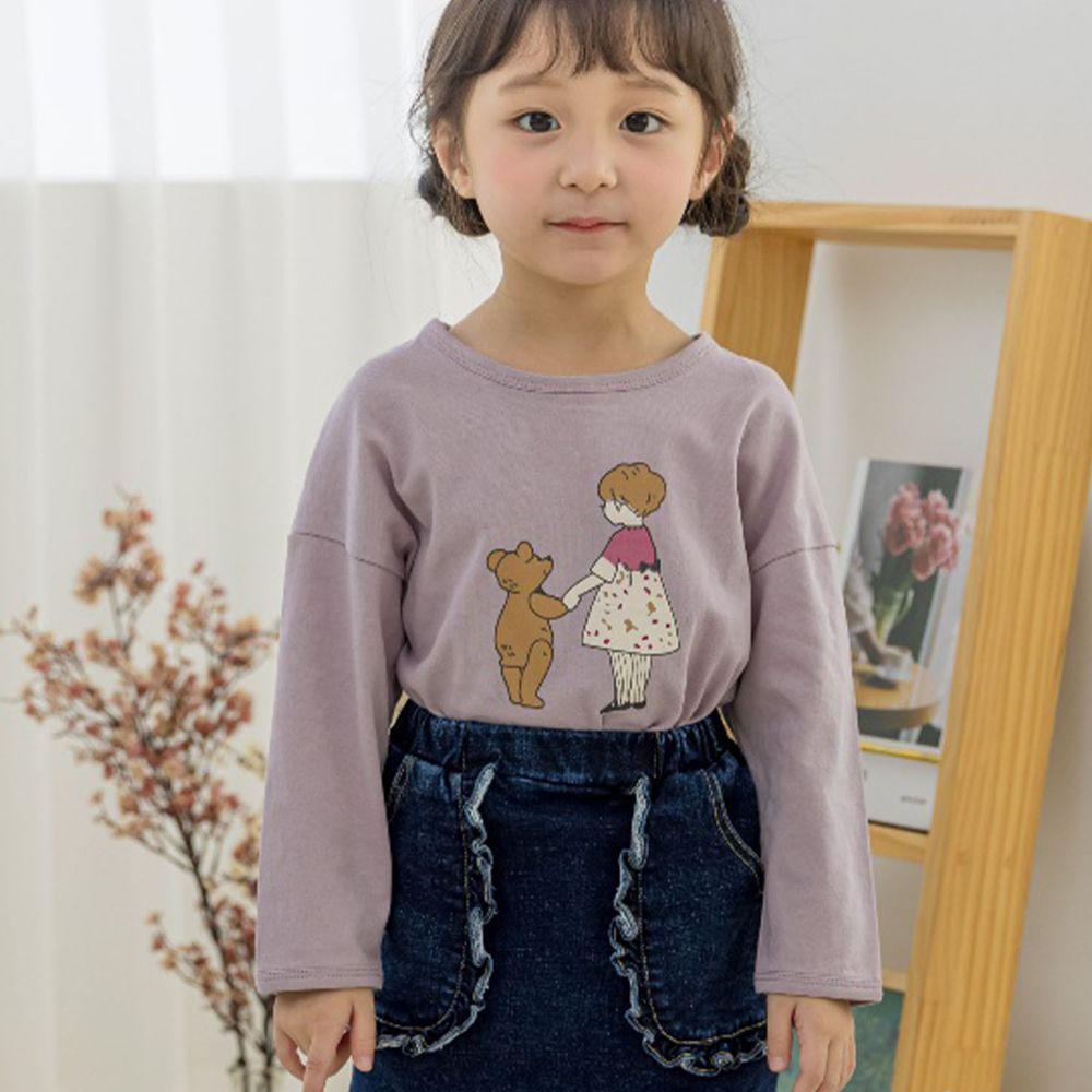 韓國 Orange Mom - 小熊與女孩薄棉T-淺紫