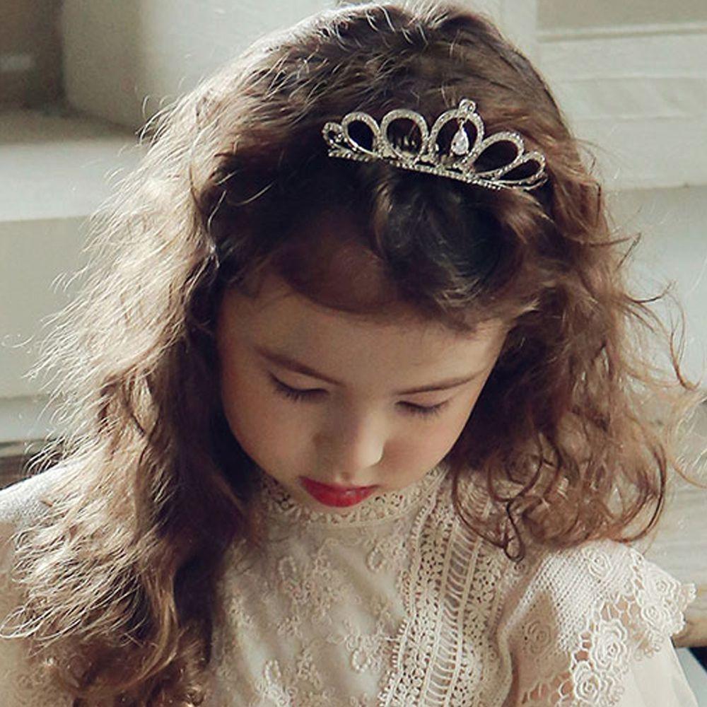 韓國 PuellaFLO - 垂墜水晶皇冠髮飾