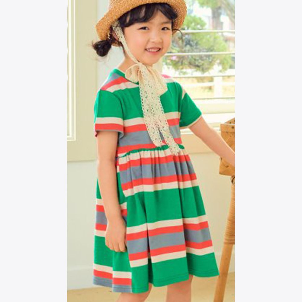 韓國 Hanab - 撞色線條相間洋裝