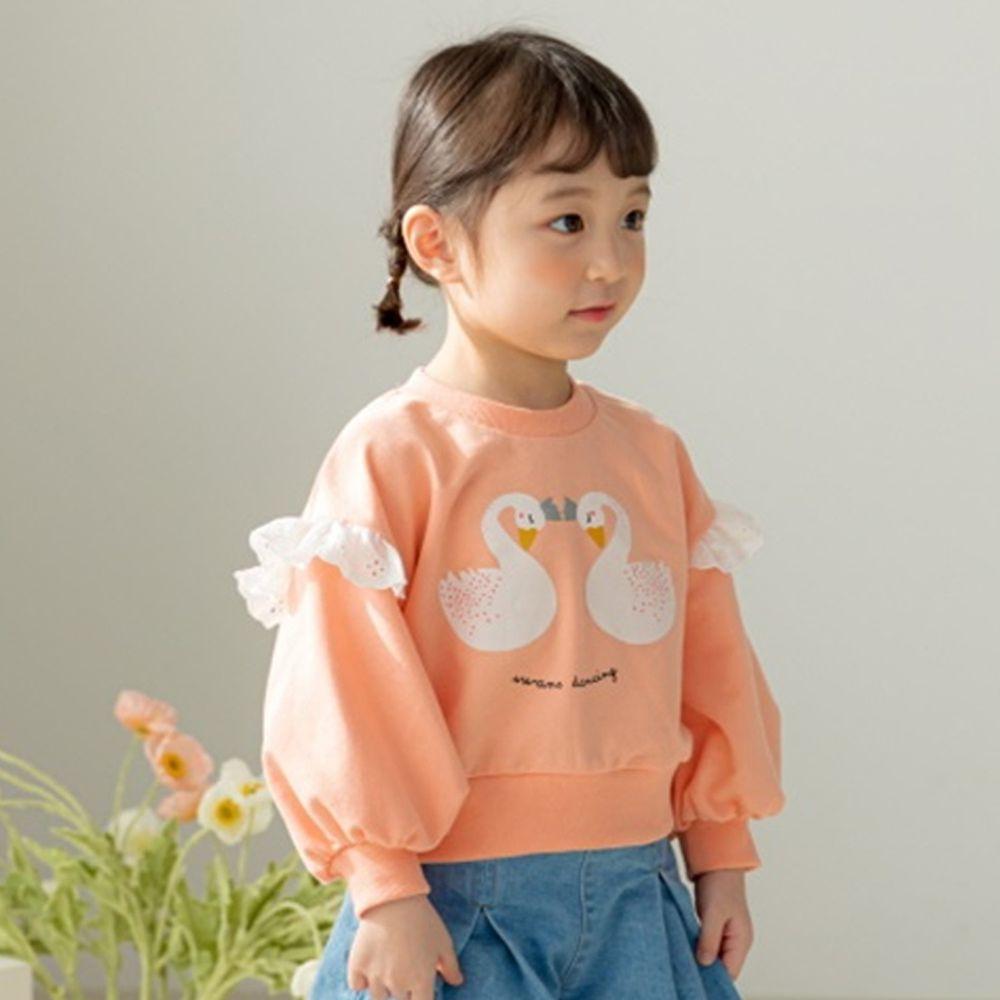 韓國 Orange Mom - 天鵝荷葉泡泡袖上衣-橘