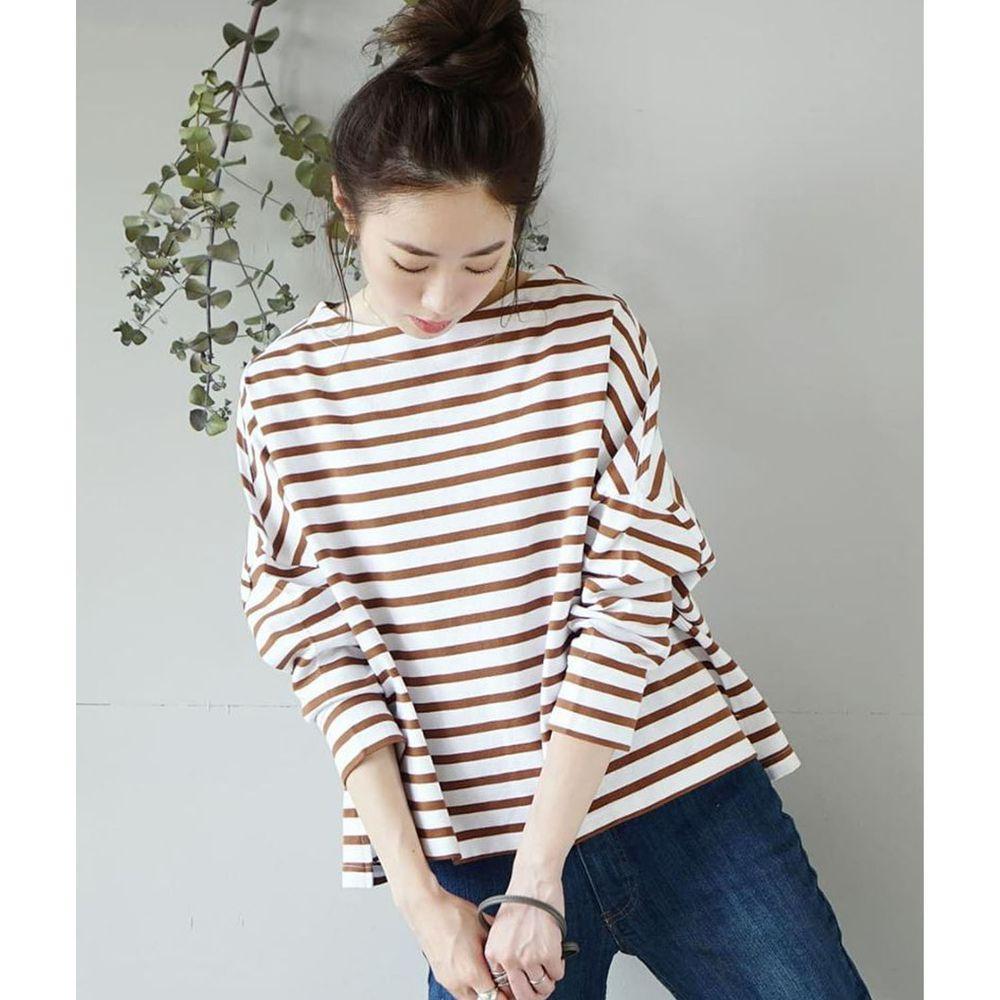 日本 zootie - [撥水/撥油加工] 抗油污耐洗純棉長袖上衣-條紋-咖啡白