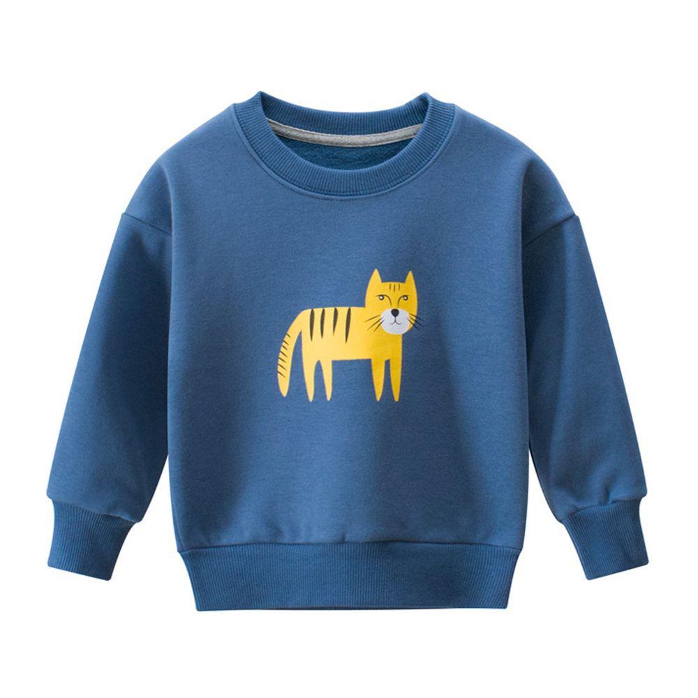 圓領長袖T恤-軍藍老虎