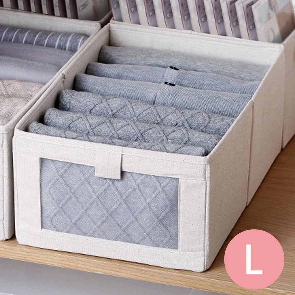 日本霜山 - 棉麻布摺疊式分類收納盒(附透窗)-L