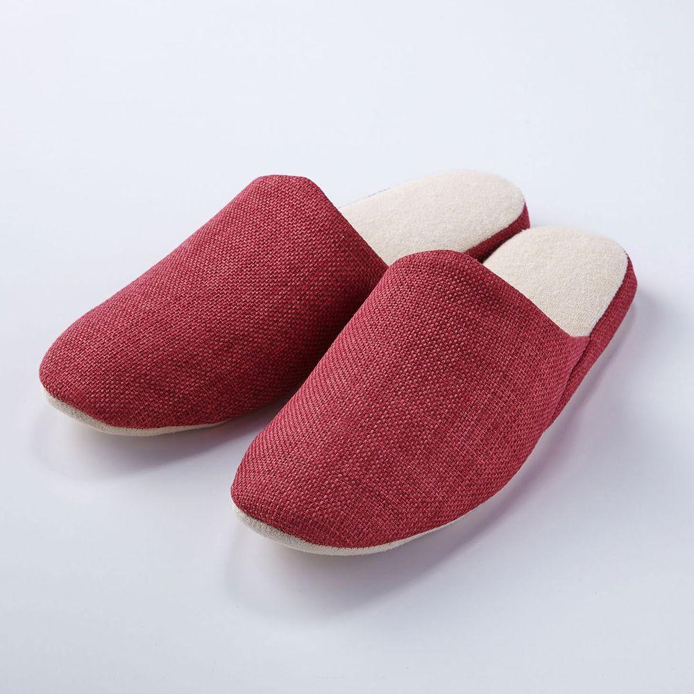 日本千趣會 - 純色棉麻無印風室內拖-醇酒紅