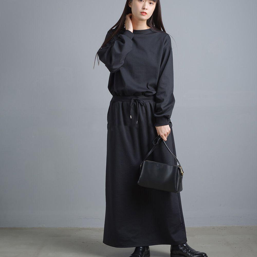 日本女裝代購 - 簡約舒適彈性長袖洋裝-純黑