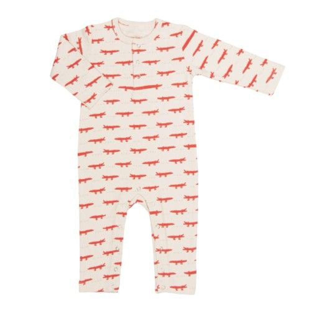 trixie baby - 有機棉長袖連身衣-紅白鱷魚