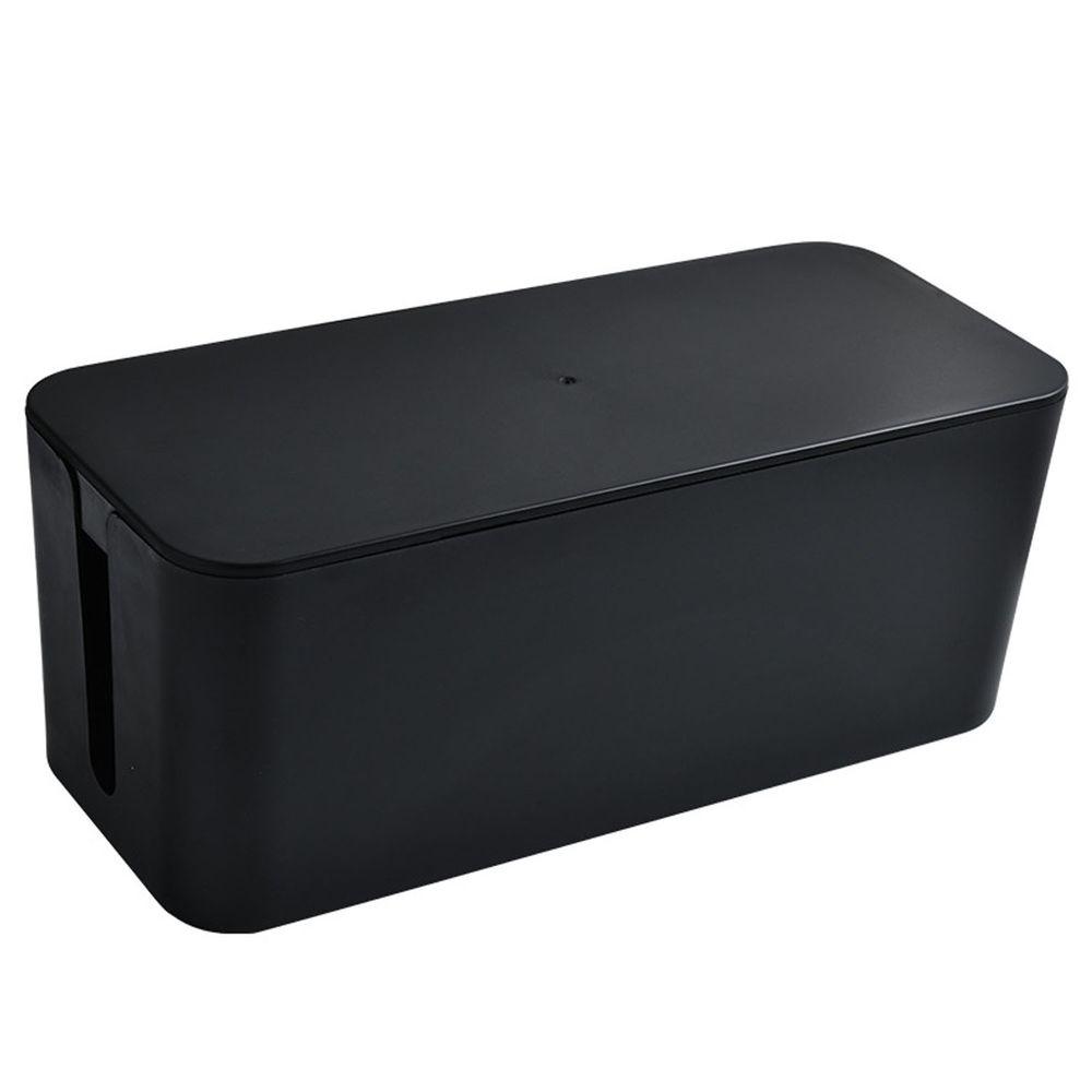 電源線收納整理盒-大號-黑色 (32x13.7x13cm)