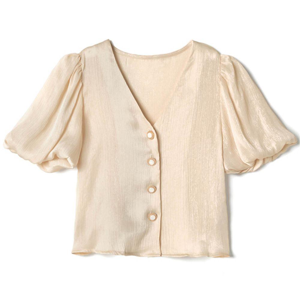 日本 GRL - 古典奢華亮面V領排釦短袖上衣-氣質杏