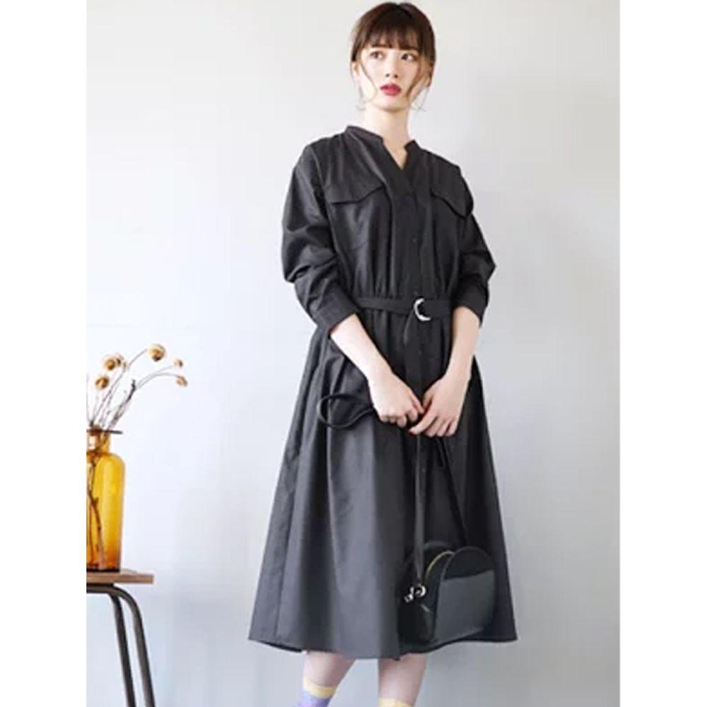 日本 zootie - 質感光澤帥氣工裝襯衫洋裝/外套-深灰