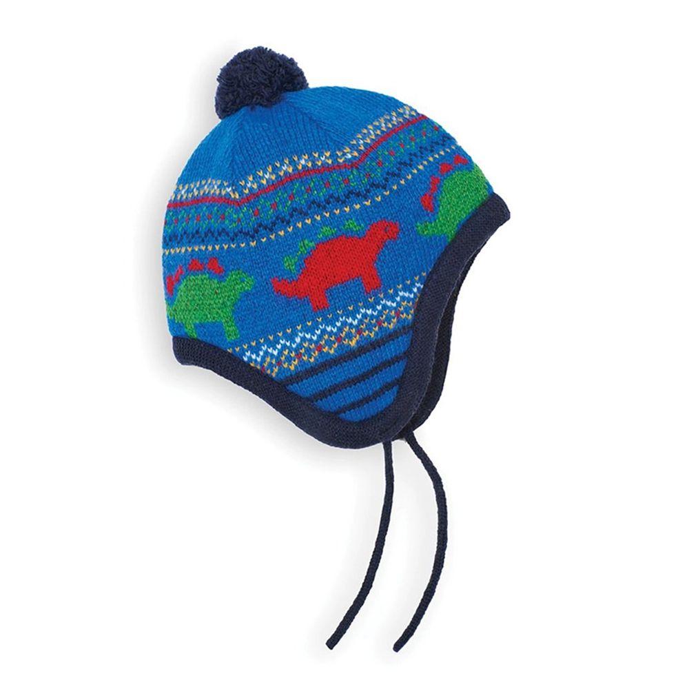 英國 JoJo Maman BeBe - 保暖舒適羊毛帽-恐龍樂園