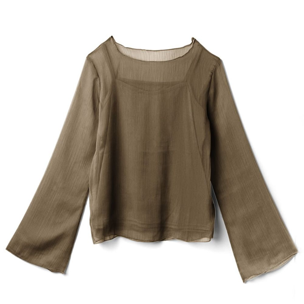 日本 GRL - 透感楊柳寬袖上衣X細肩背心-摩卡咖