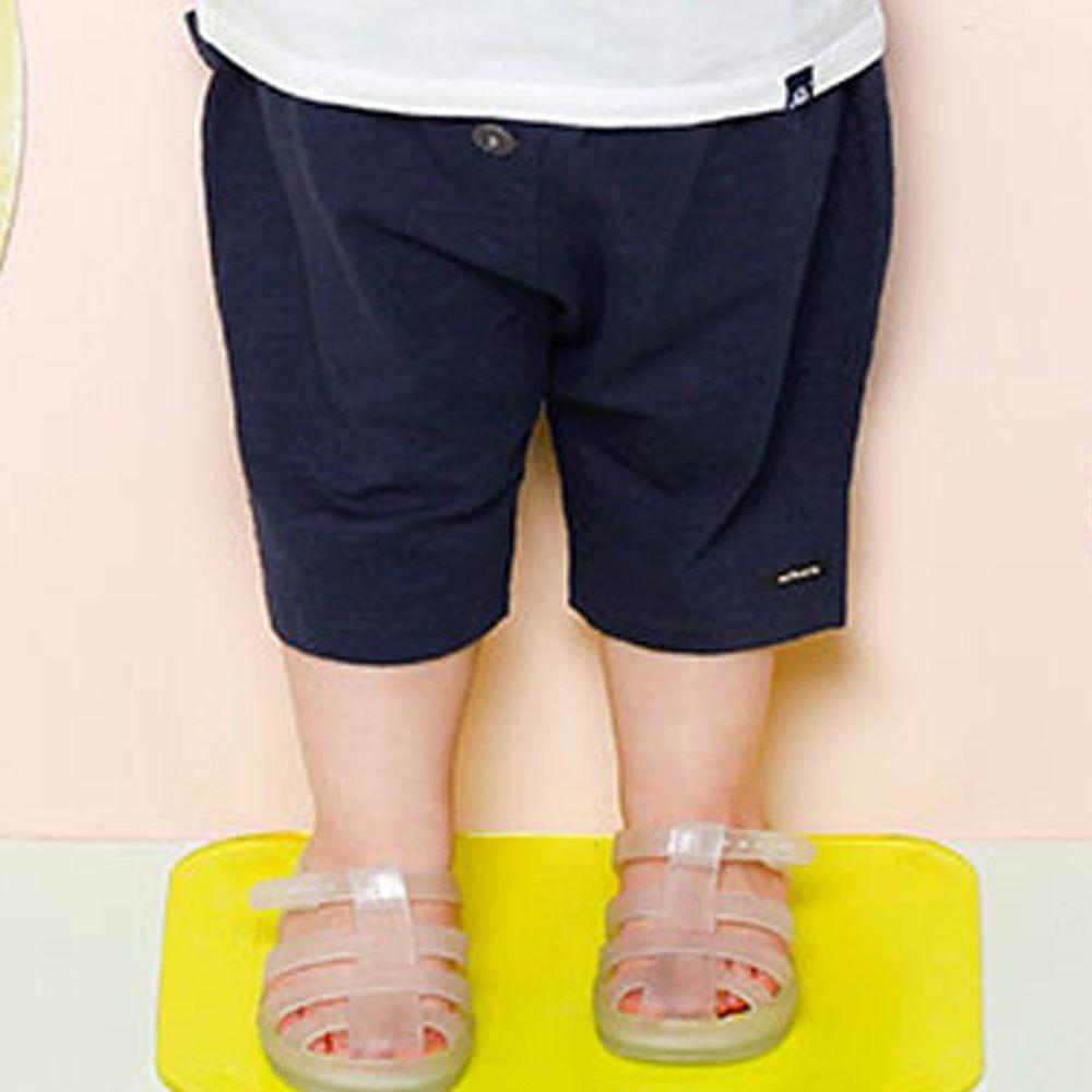韓國 milk mile - 大口袋假鈕扣哈倫褲-深藍