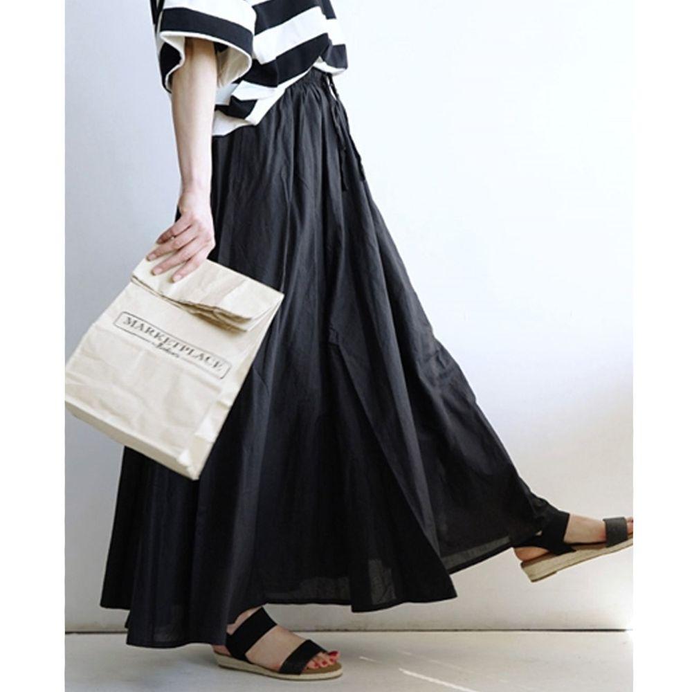 日本 zootie - 100%印度棉舒適傘狀長裙-時尚黑 (Free)