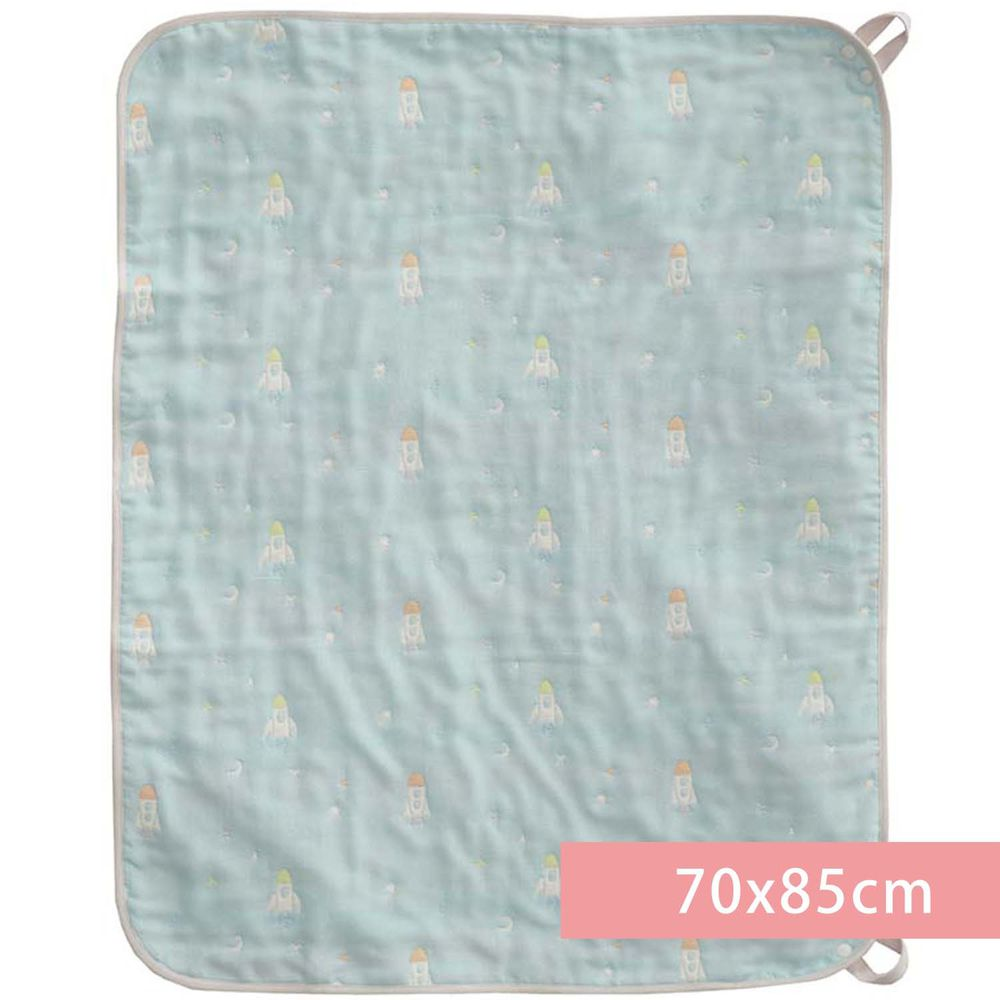 akachan honpo - 多用途6層棉紗被-火箭-淺藍色 (70x85cm)