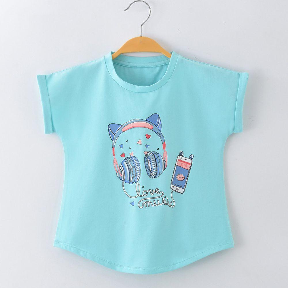 FitUrBabe - 彈力棉質短袖上衣-搖滾貓耳機-淺藍色