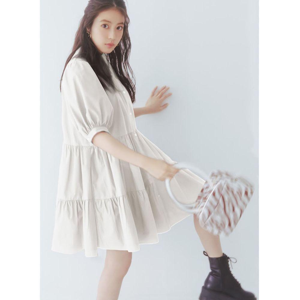 日本 GRL - 明星聯名款 蛋糕澎澎五分袖襯衫洋裝-天使白