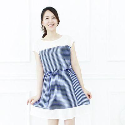 海洋條紋休閒洋裝 (F)