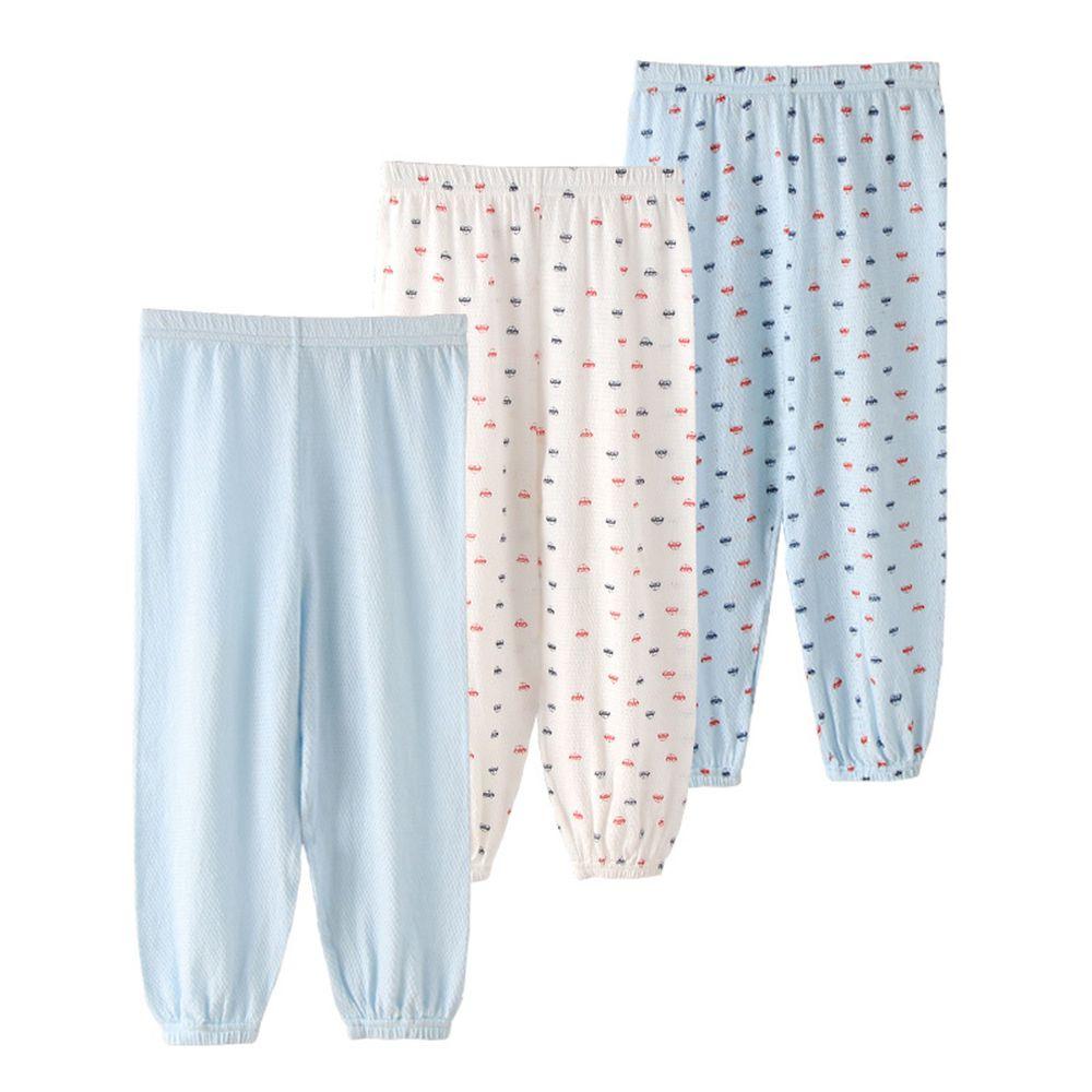 網眼純棉長褲三件組-淺藍色