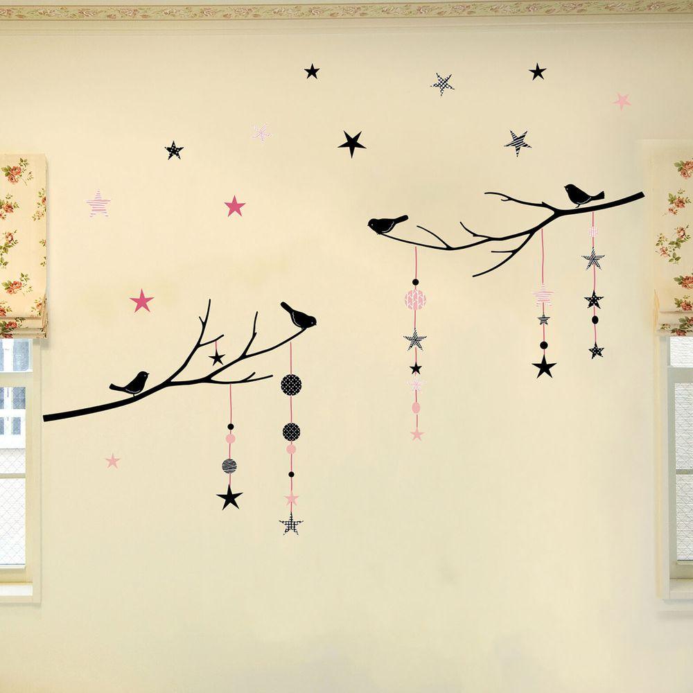 日本 TOKYO STICKER - 日本製 質感無邊框壁貼 [精緻轉印款]-樹梢星星與鳥-粉 (100*32cm)
