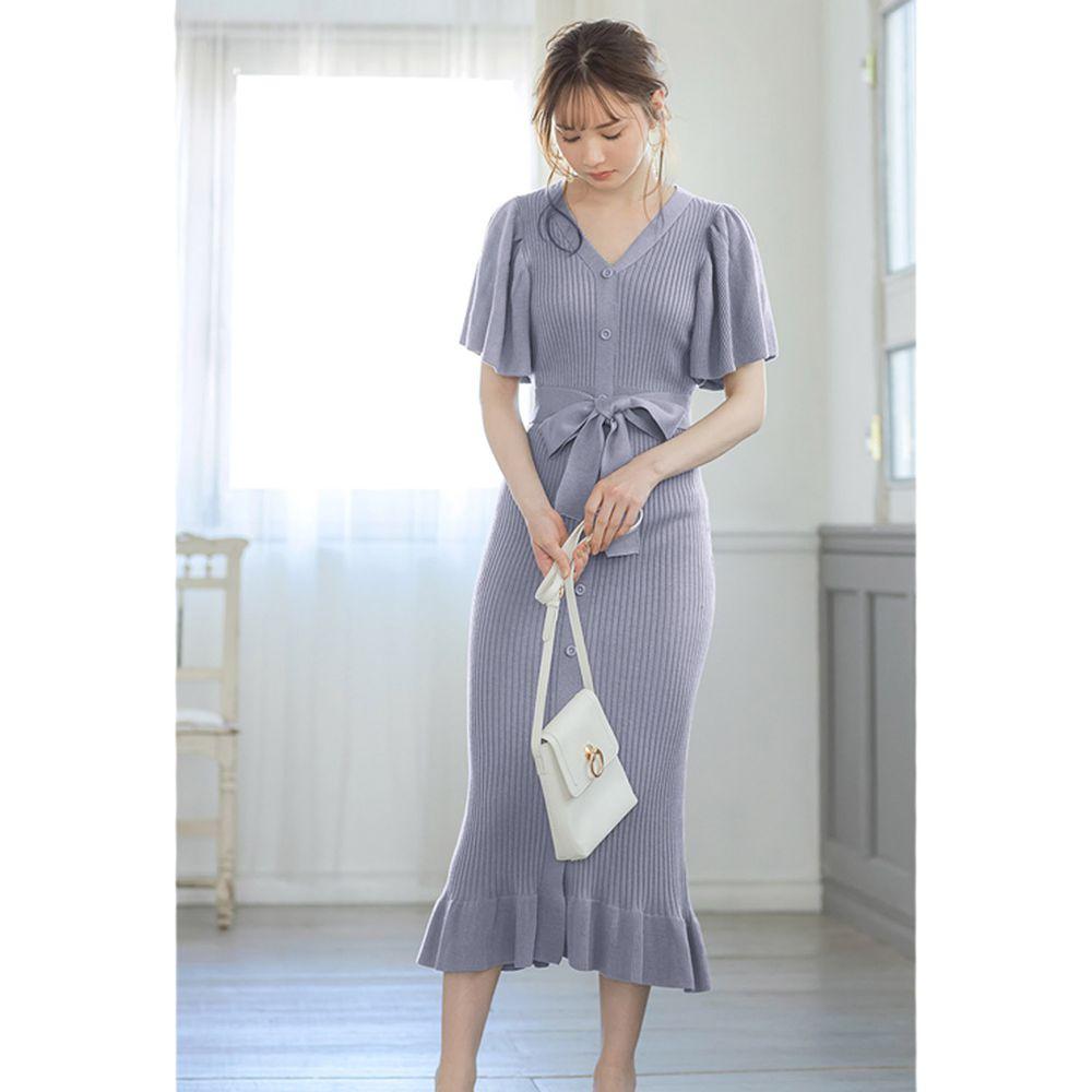 日本 GRL - 浪漫大荷葉袖針織修身洋裝-星塵藍
