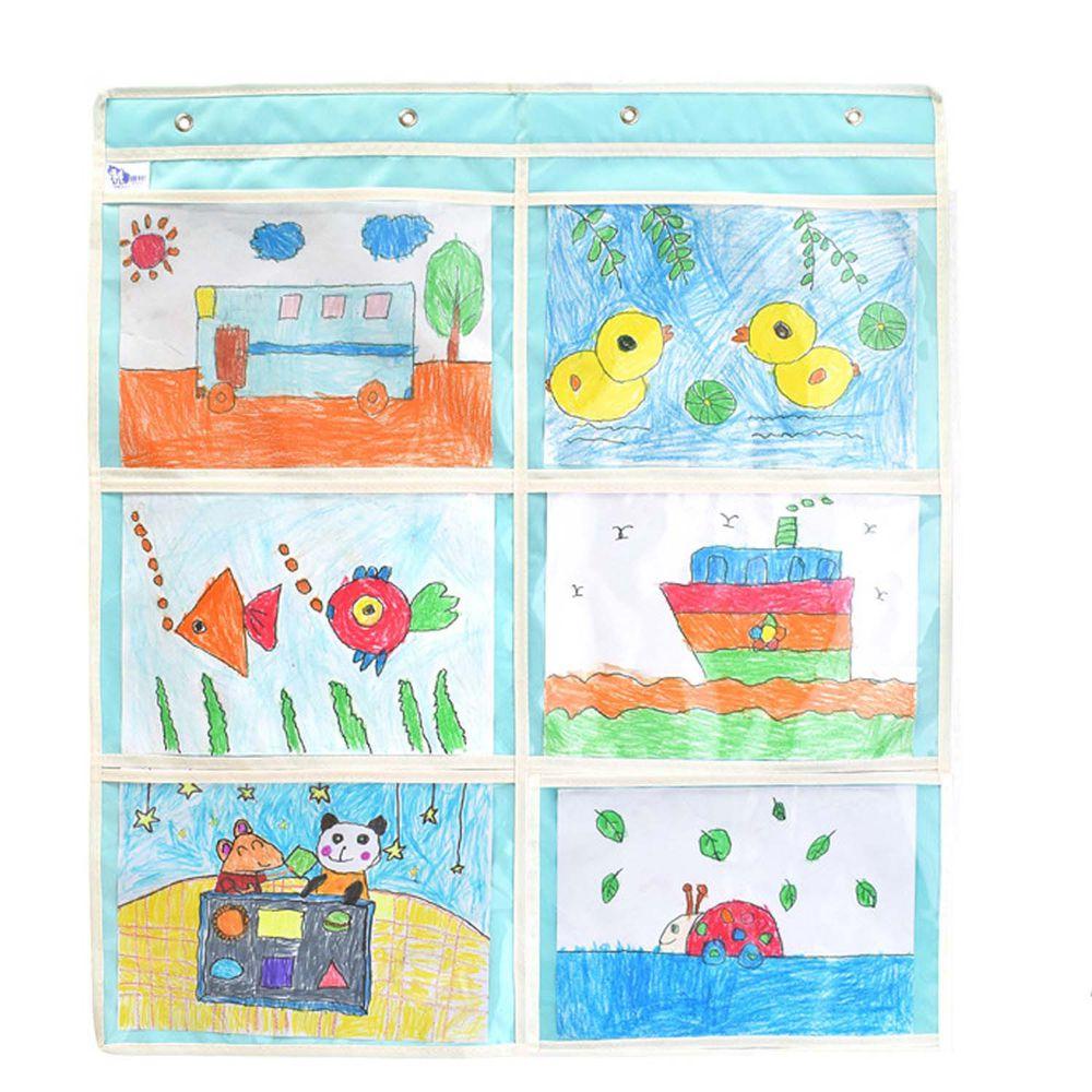 牛津布美術文件通告掛袋-A4橫款六格-藍色 (68*78cm)