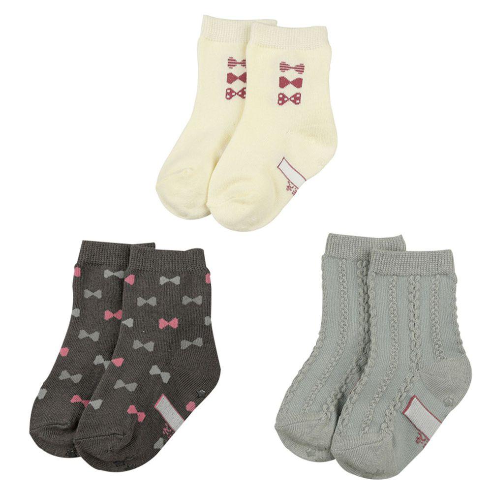 akachan honpo - 女中筒襪3雙組-蝴蝶結-深灰色 (9~14cm)
