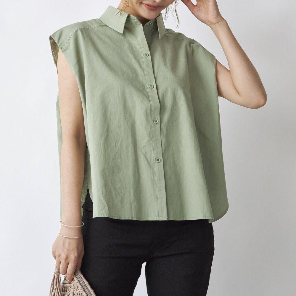 日本 Rejoule - 率性修身前短後長無袖襯衫-綠 (M(Free size))